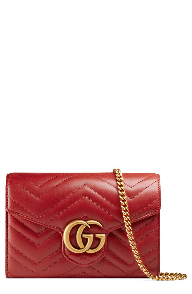 3489460f7 GG Marmont Matelassé Leather Wallet on a Chain, Main, color, HIBISCUS RED