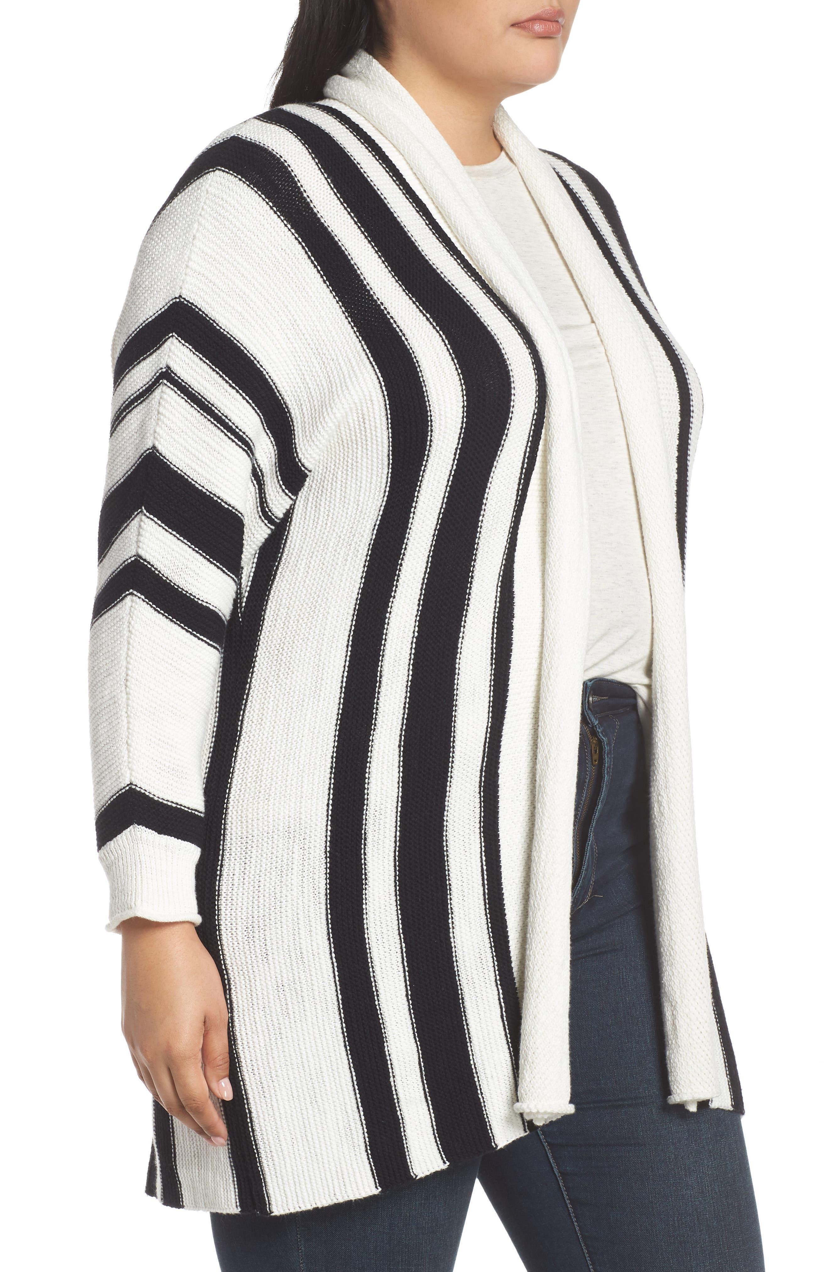 ,                             Stripe Open Front Cardigan,                             Alternate thumbnail 9, color,                             900