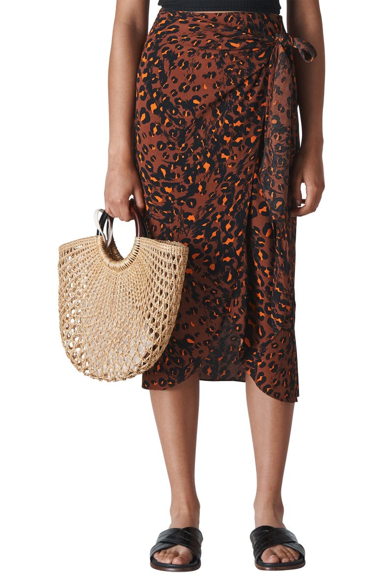 WHISTLES Brushed Leopard Print Sarong Skirt, Main, color, BROWN/ MULTI