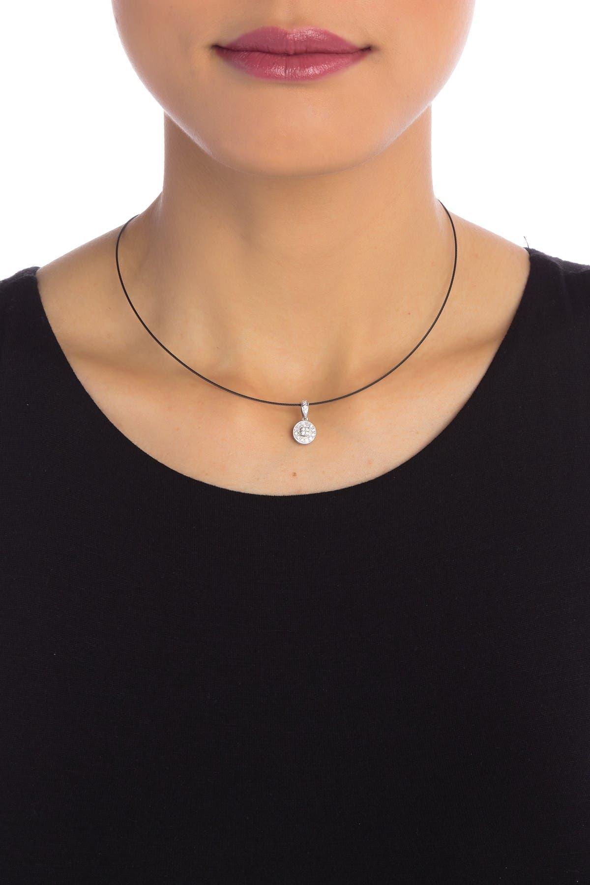 Image of ALOR 18K White Gold Diamond Pendant Necklace - 0.17 ctw
