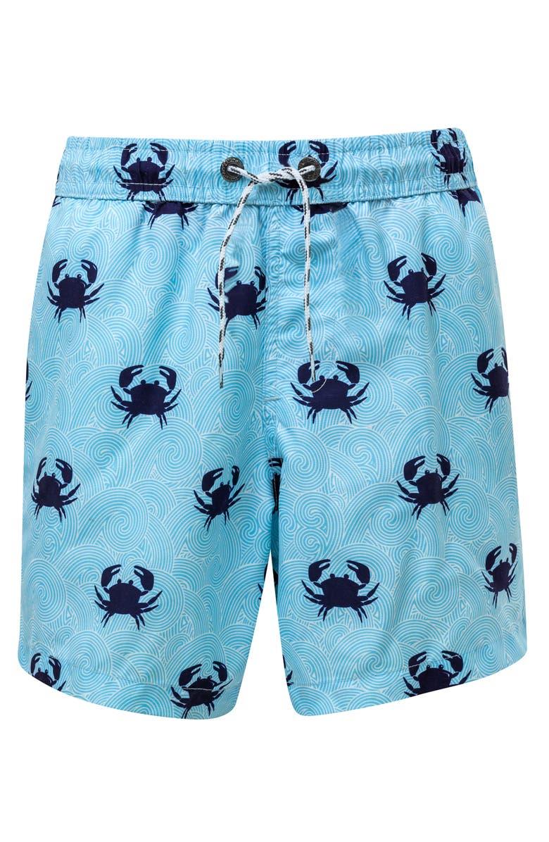 SNAPPER ROCK Blue Crab Swim Trunks, Main, color, LIGHT PASTEL BLUE