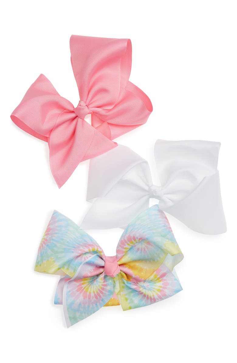 CAPELLI NEW YORK 3-Pack Jumbo Bow Hair Clips, Main, color, PINK