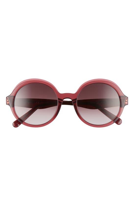 Salvatore Ferragamo Salvatore Ferragam Gancini 52mm Round Sunglasses In Crystal Burgundy/wine Gradient