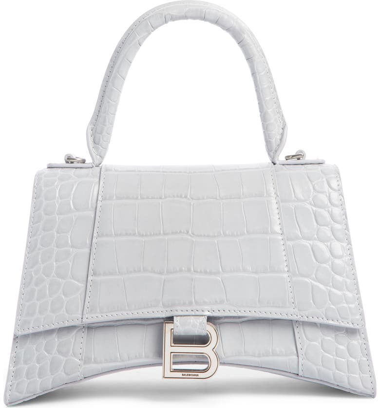 Extra Small Hourglass Croc Embossed Leather Top Handle Bag by Balenciaga