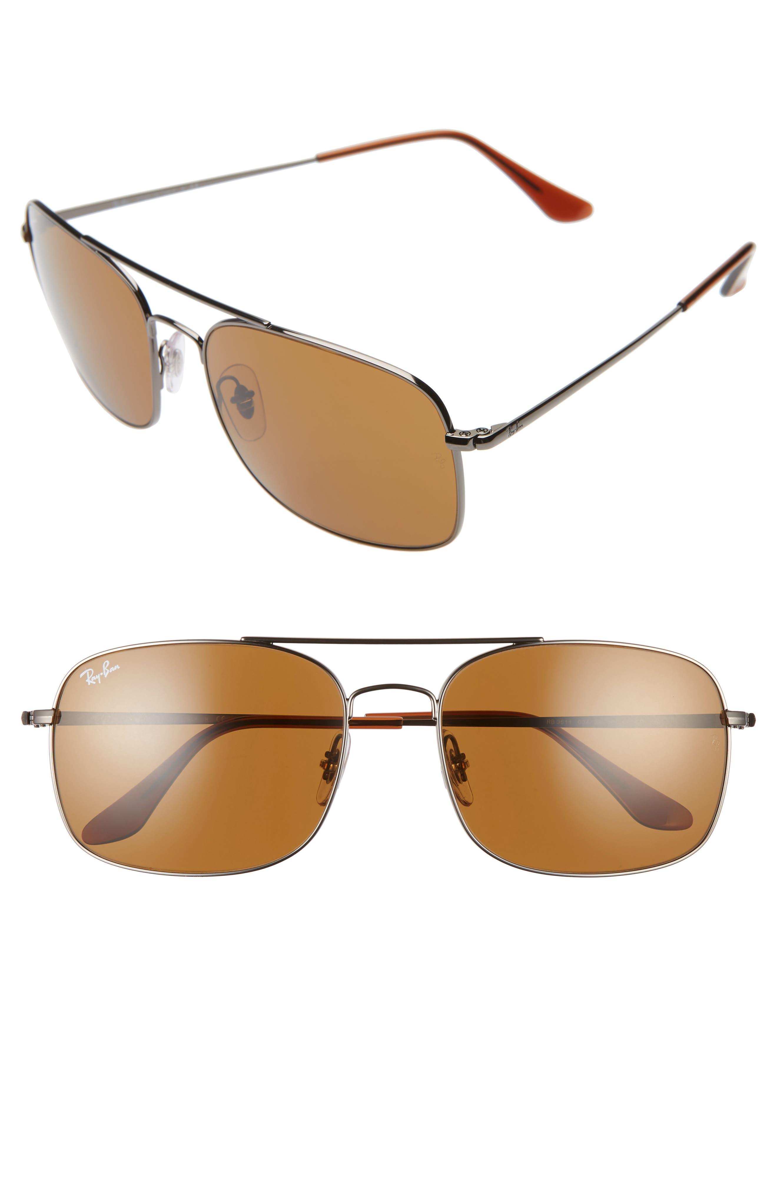 Ray-Ban 60Mm Aviator Sunglasses - Gunmetal/ Brown Solid