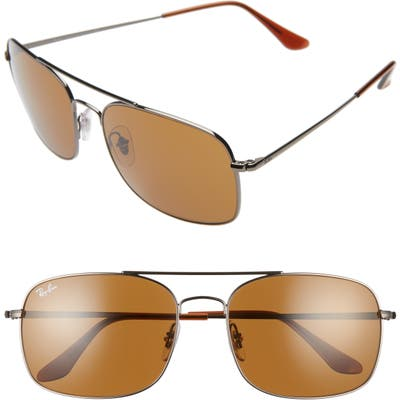 Ray-Ban 60Mm Aviator Sunglasses - Gunmetal/ Brown Solid