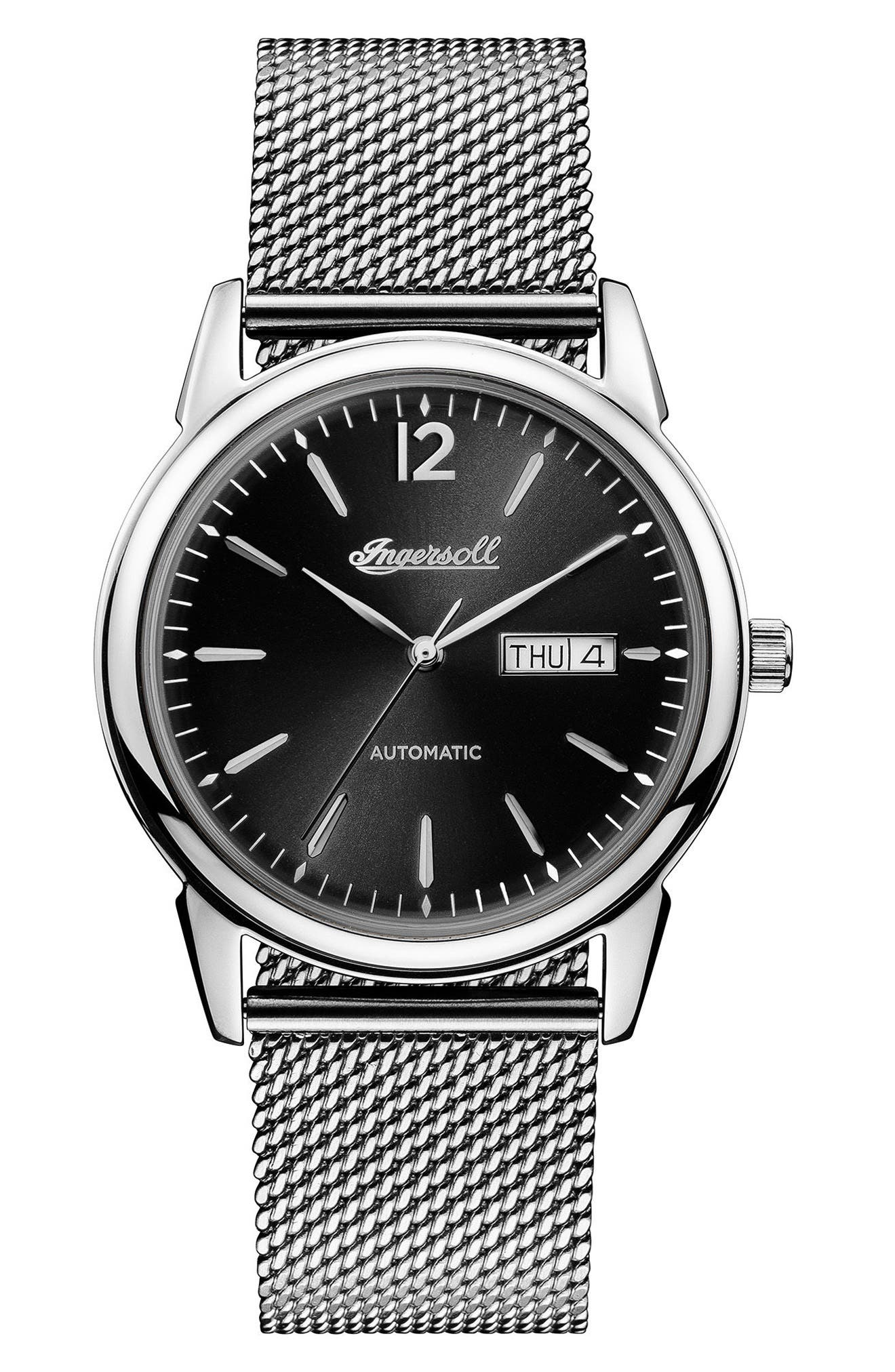 ,                             Ingersoll New Haven Automatic Mesh Strap Watch, 40mm,                             Main thumbnail 1, color,                             SILVER/ BLACK/ SILVER