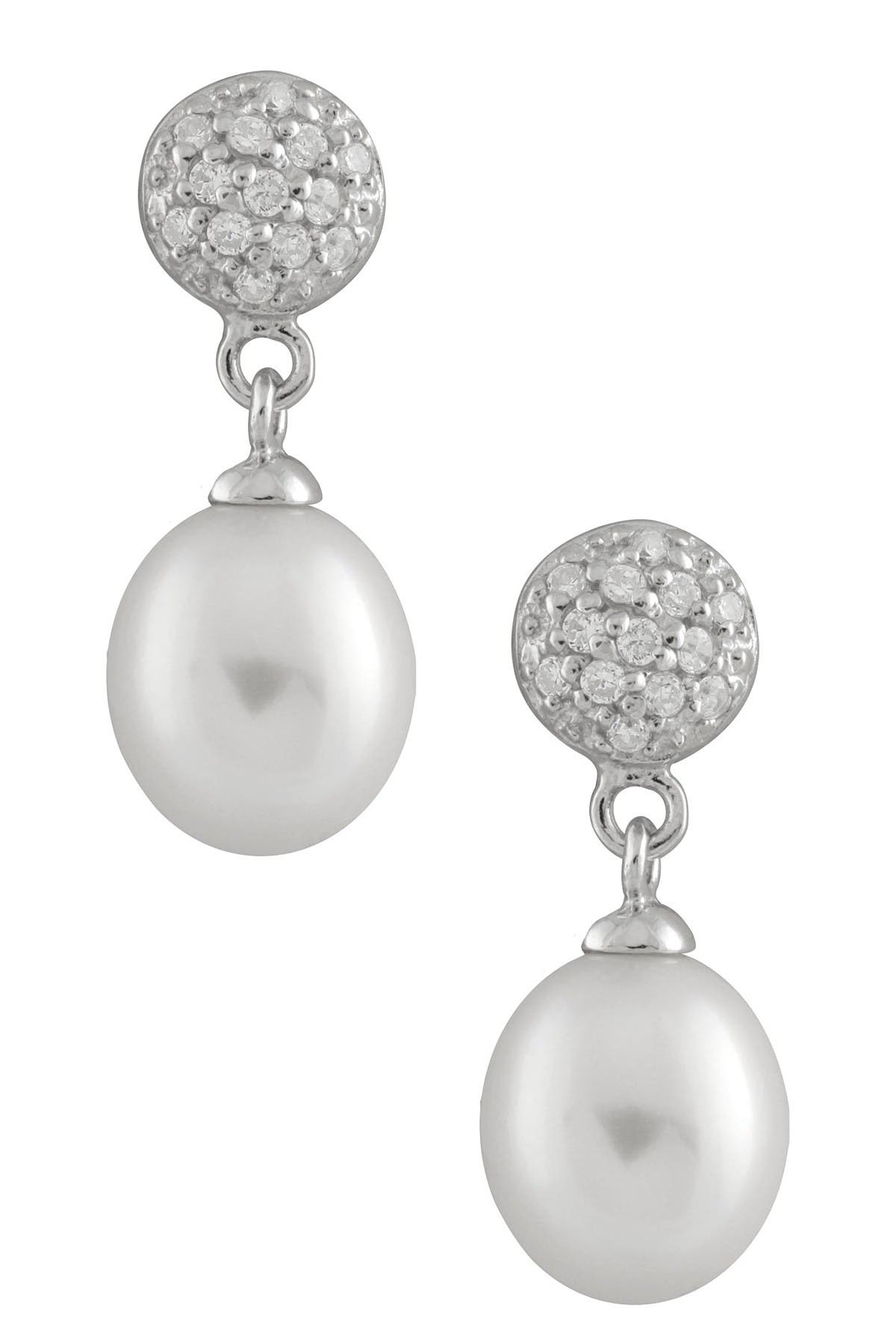 Image of Splendid Pearls 8-8.5mm Freshwater Pearl Pave CZ Drop Earrings