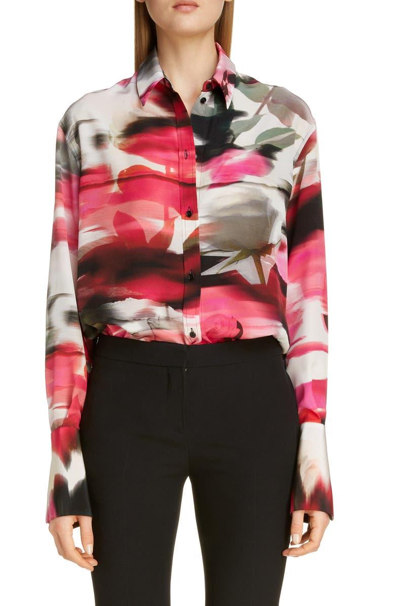 ALEXANDER MCQUEEN Rose Print Silk Blouse, Main, color, PINK