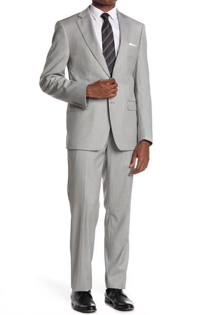 Image of Calvin Klein Light Grey Solid Wool Blend Two Button Notch Lapel Suit