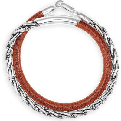 Caputo & Co. Sterling Silver Chain & Leather Wrap Bracelet
