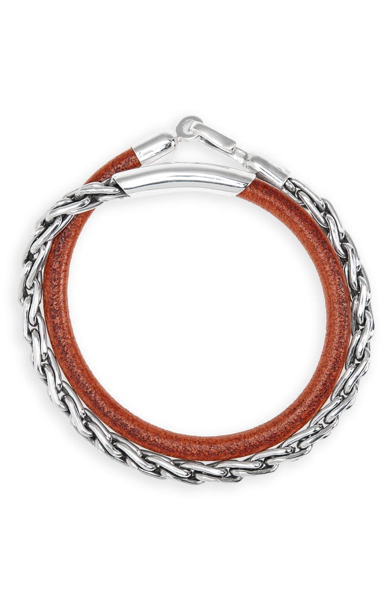 CAPUTO & CO. Sterling Silver Chain & Leather Wrap Bracelet, Main, color, TOBACCO