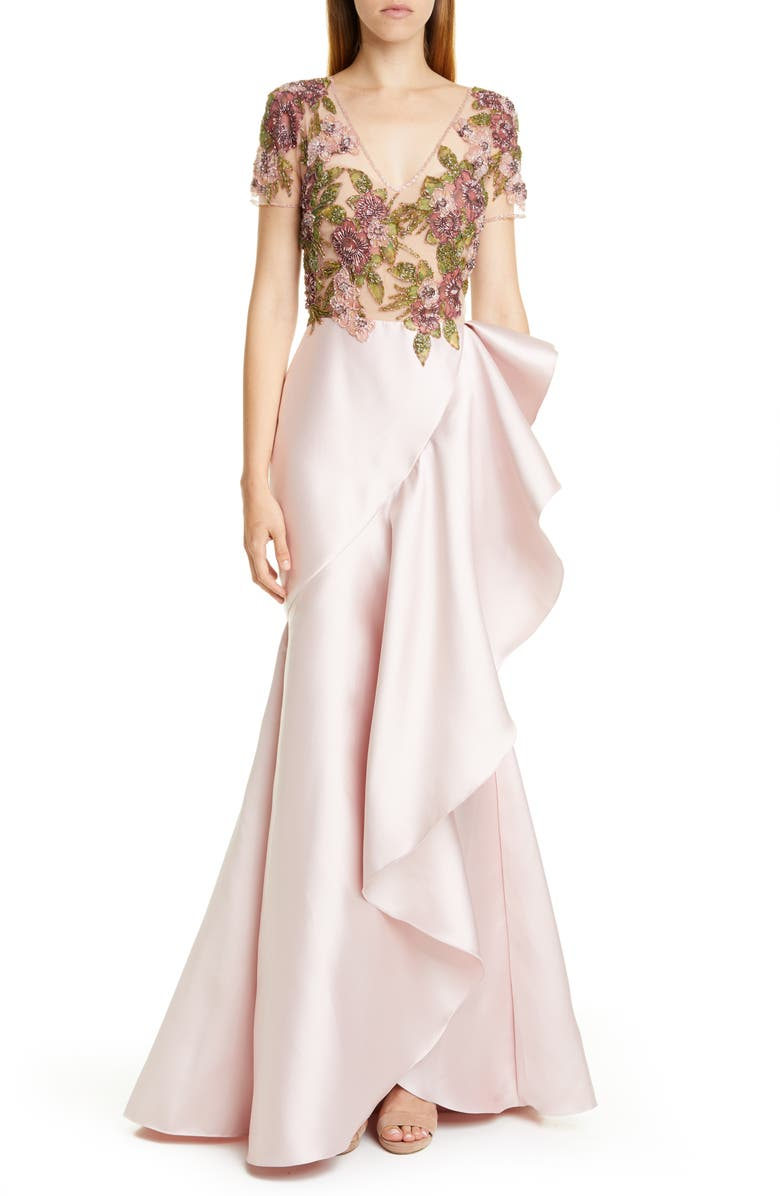 PATBO Beaded Ruffle Mermaid Gown, Main, color, SOFT PINK