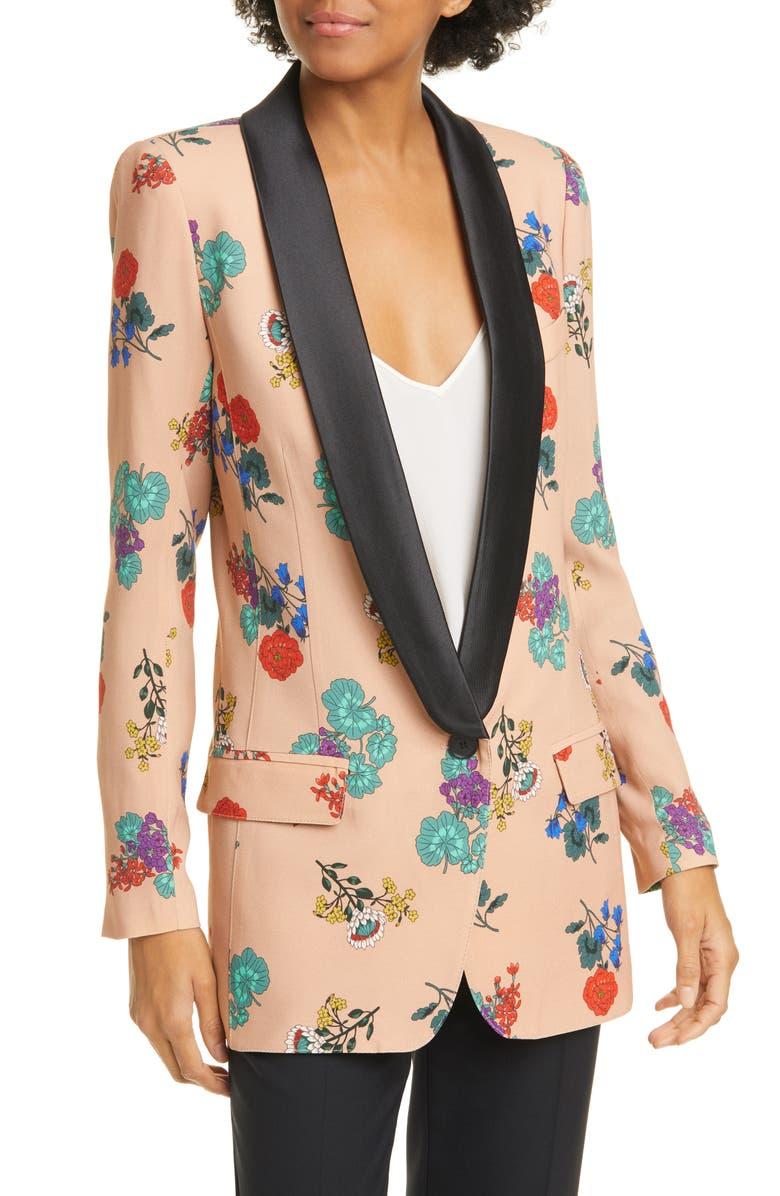 SMYTHE Floral Long Shawl Lapel Blazer, Main, color, BOTANICAL PRINT W BLACK