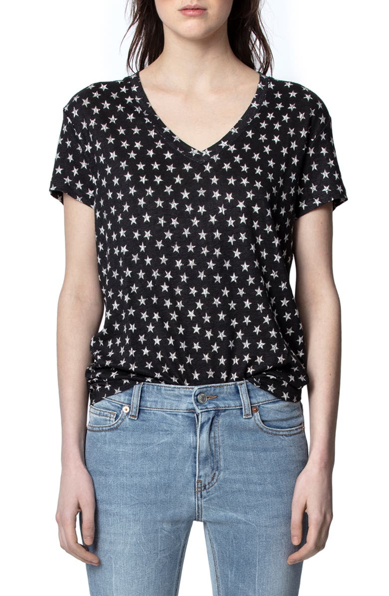 ZADIG & VOLTAIRE Archie AO Nova Metallic Star Linen T-Shirt, Main, color, NOIR