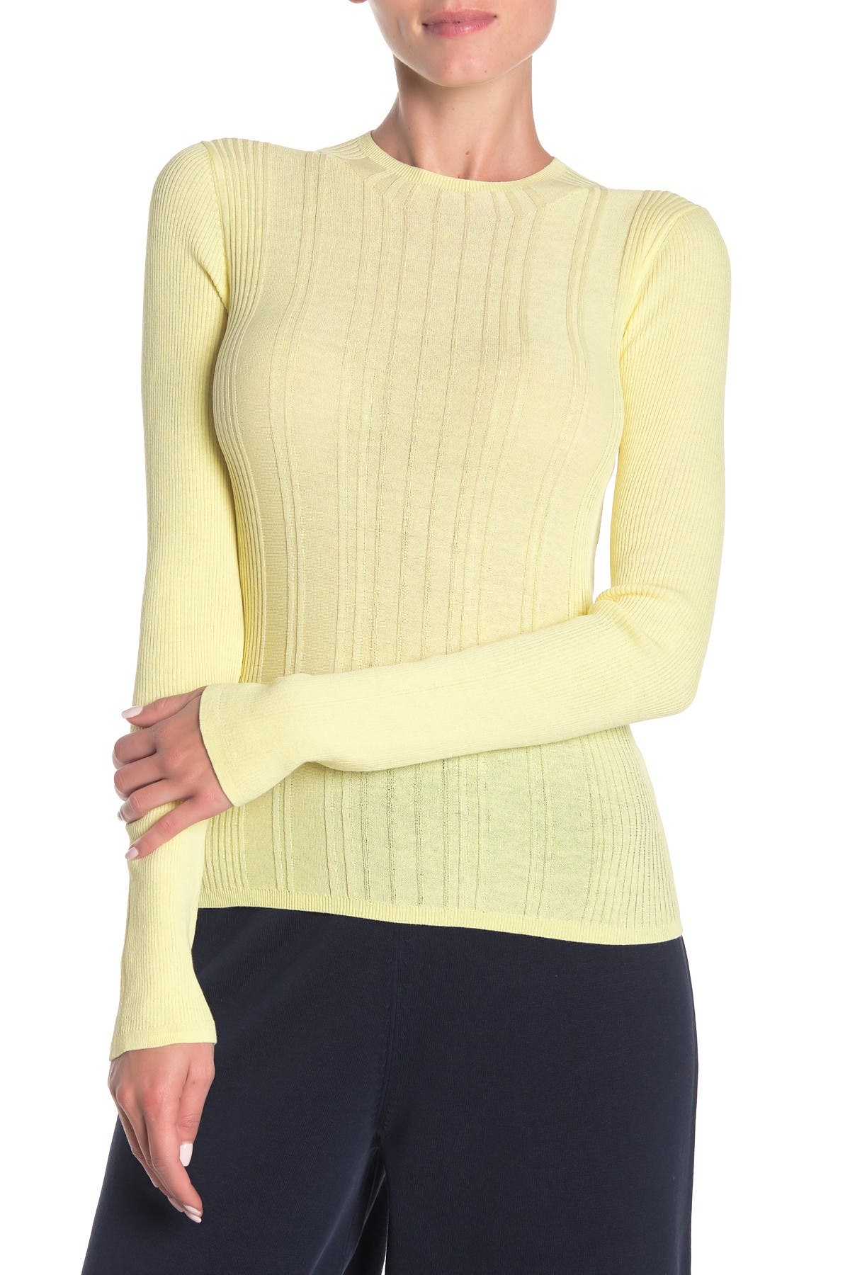 Image of Vince Variegated Rib Knit Long Sleeve Top