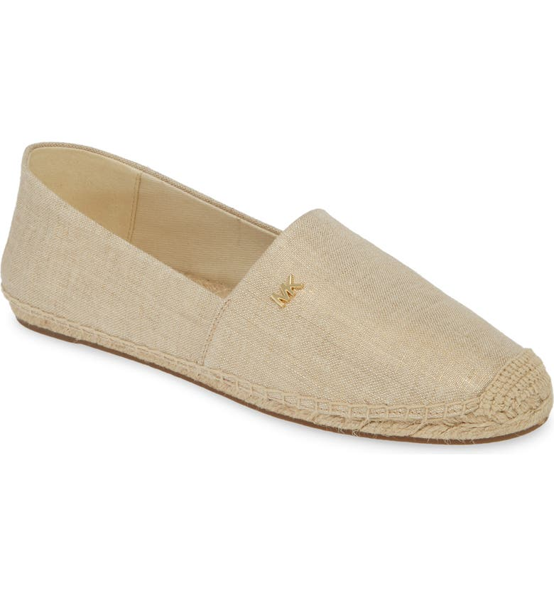 MICHAEL MICHAEL KORS 'Kendrick' Slip-On Espadrille Flat, Main, color, PALE GOLD FABRIC