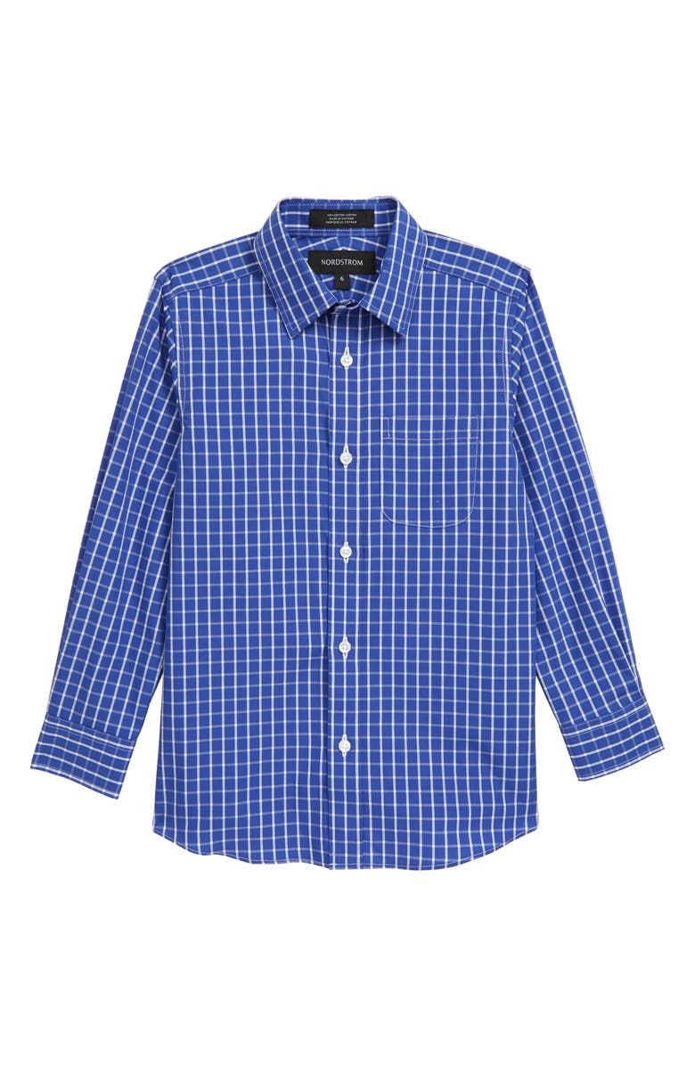NORDSTROM Check Dress Shirt, Main, color, BLUE MARINE- WHITE