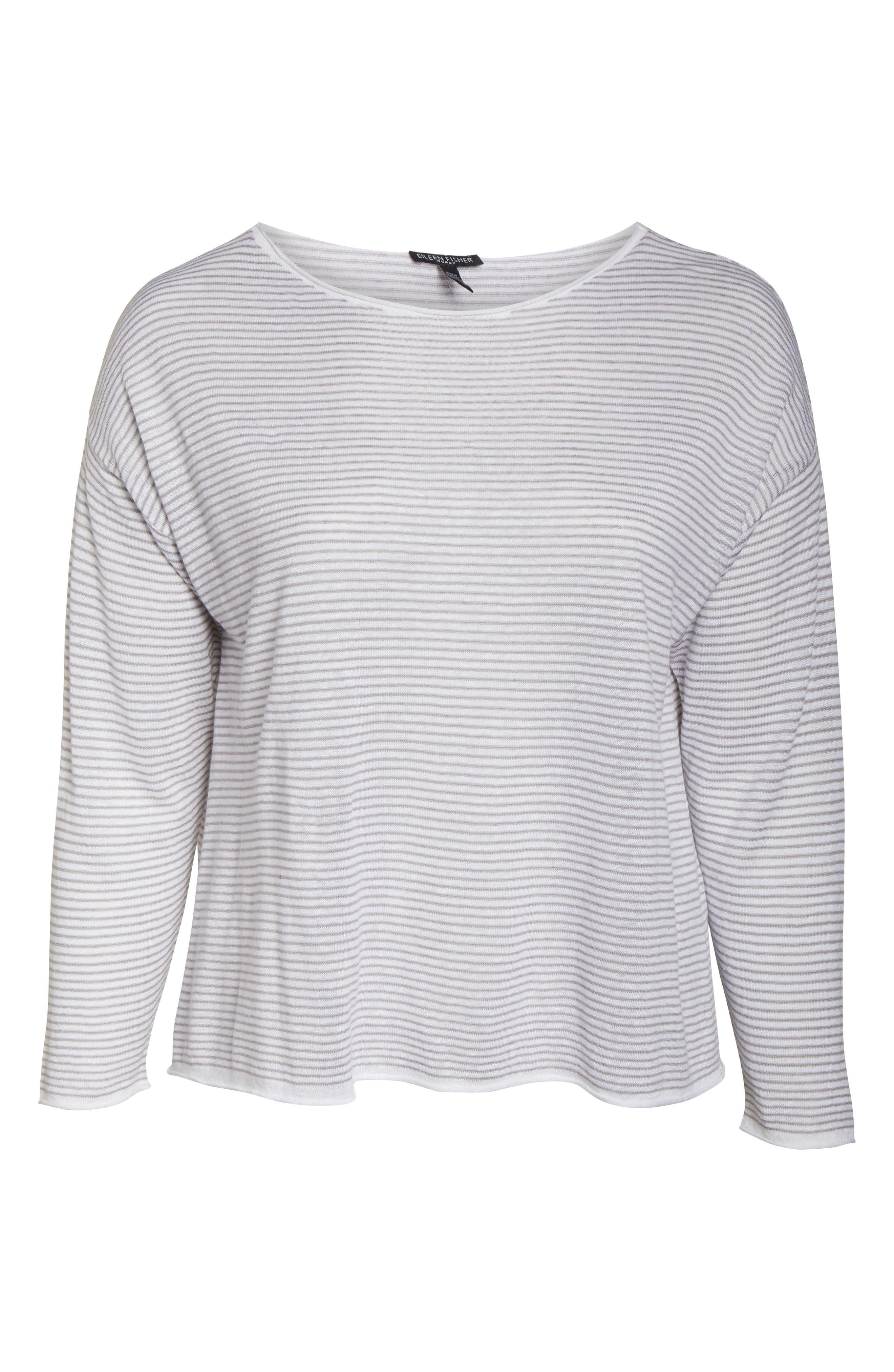 ,                             Stripe Linen & Cotton Top,                             Alternate thumbnail 6, color,                             DOVE