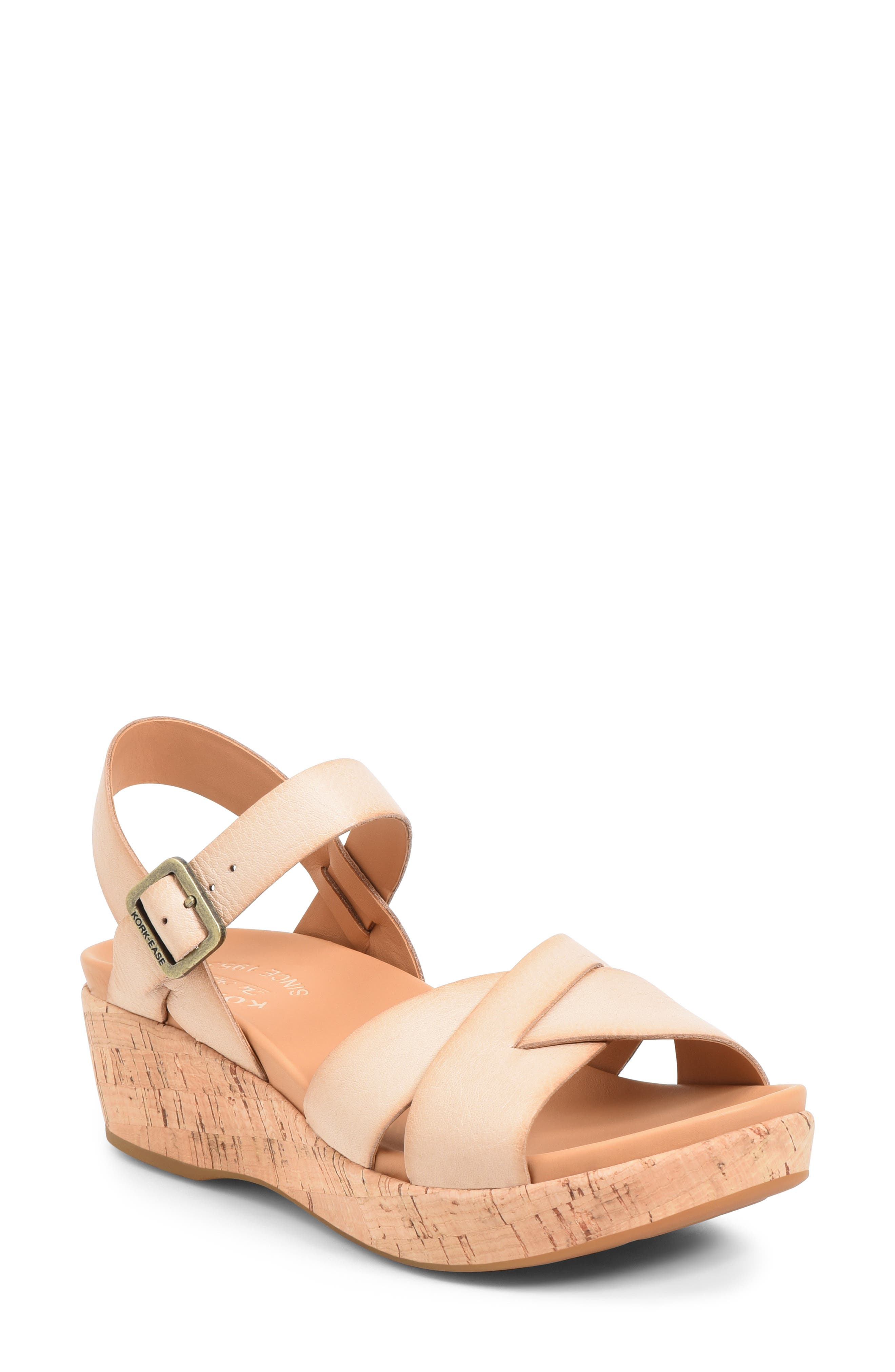 An earthy cork platform adds to the throwback appeal of a versatile ankle-strap sandal fashioned with a signature comfort footbed. Style Name: Kork-Ease \\\'Myrna 2.0\\\' Cork Wedge Sandal (Women). Style Number: 1014075. Available in stores.
