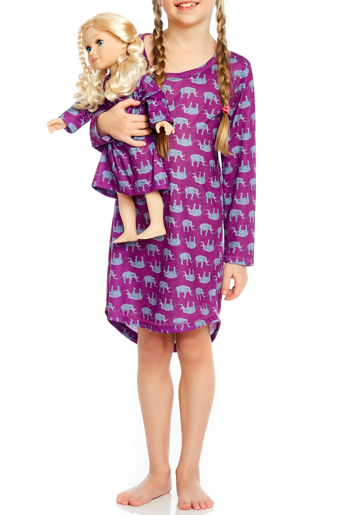 Image of Leveret Elephant Nightgown & Matching Doll Nightgown