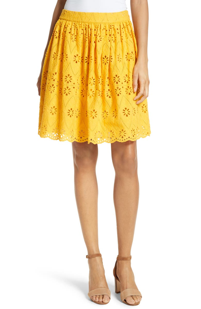 KATE SPADE NEW YORK eyelet embroidered skirt, Main, color, 800