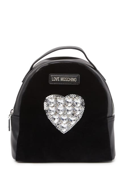 Image of LOVE Moschino Embellished Heart Backpack
