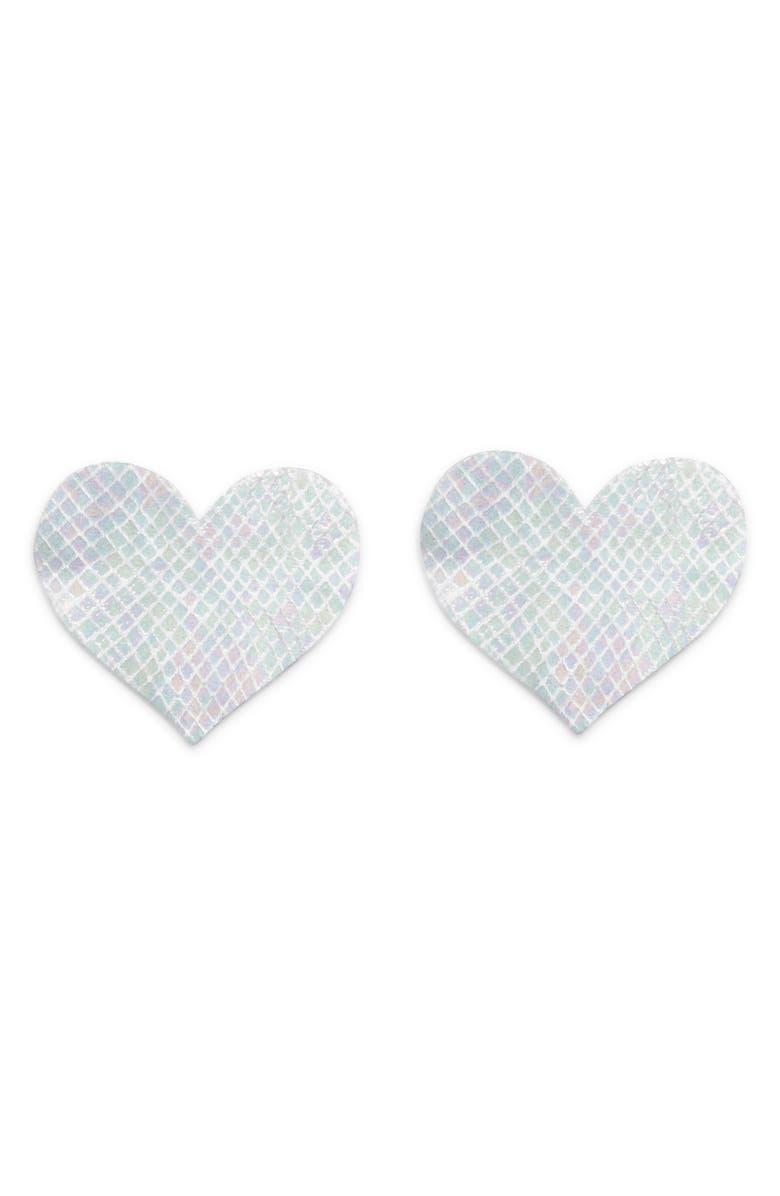 BRISTOLS 6 Nippies Heart Nipple Covers, Main, color, WHITE