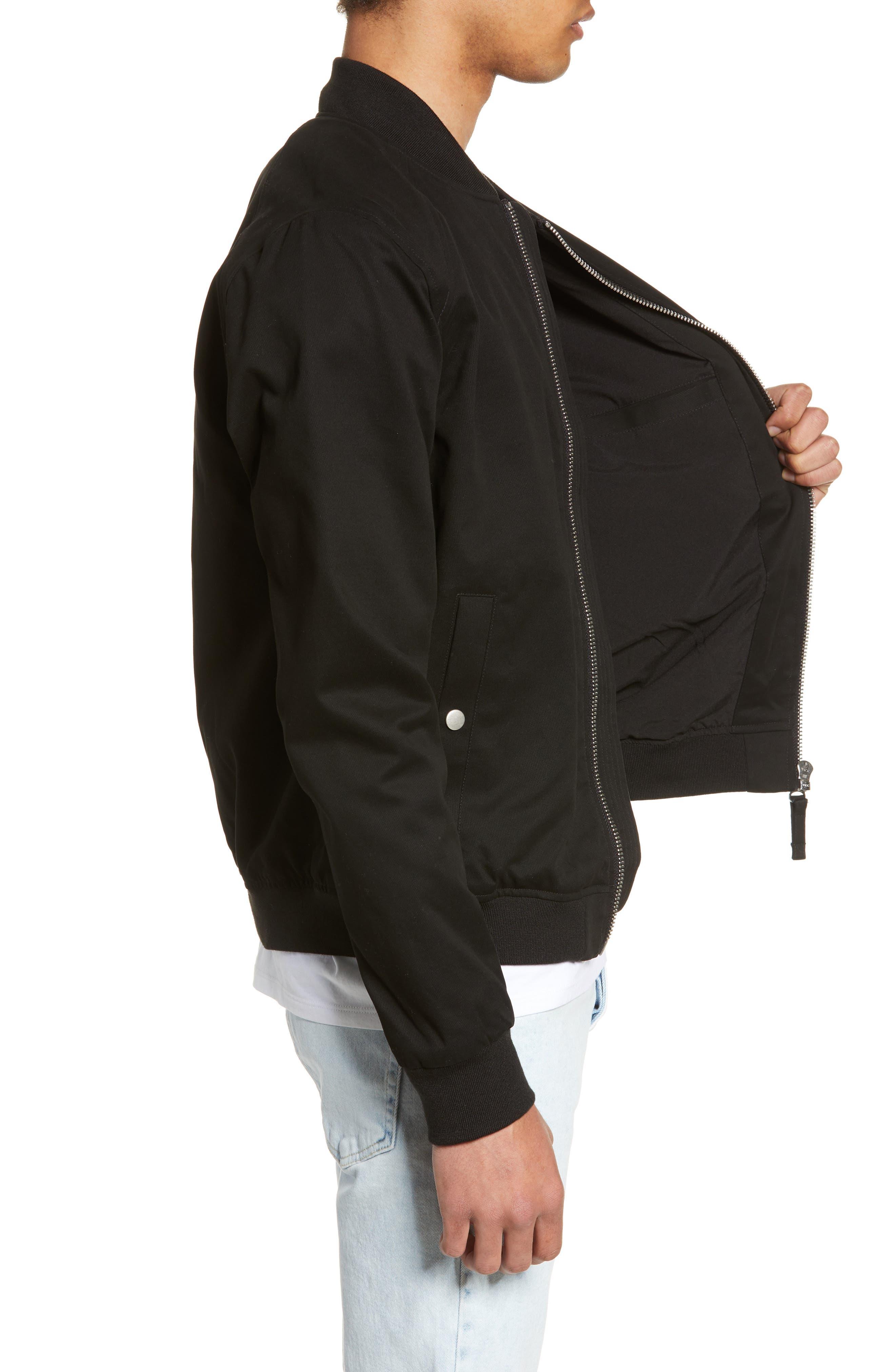 ,                             Woven Bomber Jacket,                             Alternate thumbnail 4, color,                             BLACK