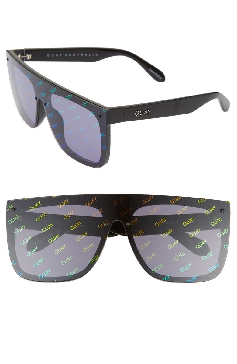 QUAY AUSTRALIA x JLO Jaded 146mm Flat Top Sunglasses, Main, color, BLACK/ SMOKE RAINBOW