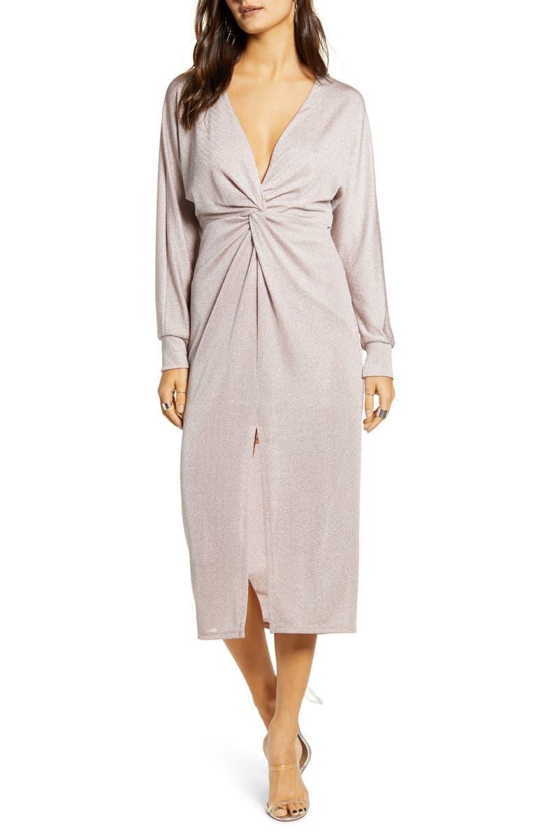ALL IN FAVOR Metallic Twist Front Midi Dress, Main, color, 650