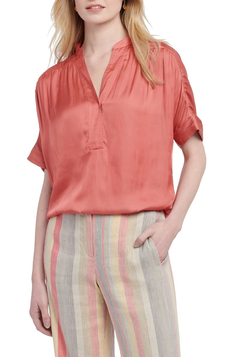 NIC+ZOE Destination Short Sleeve Blouse, Main, color, SEDONA