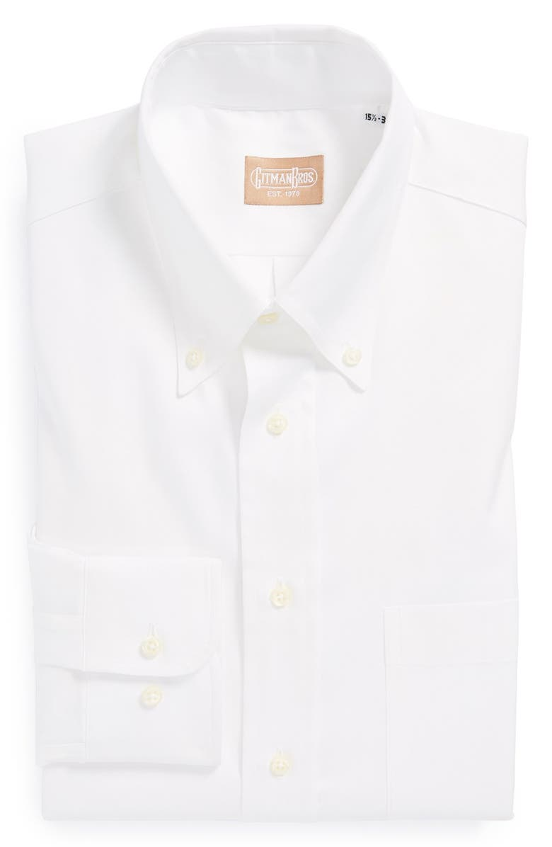 GITMAN Regular Fit Pinpoint Cotton Oxford Button Down Dress Shirt, Main, color, 100