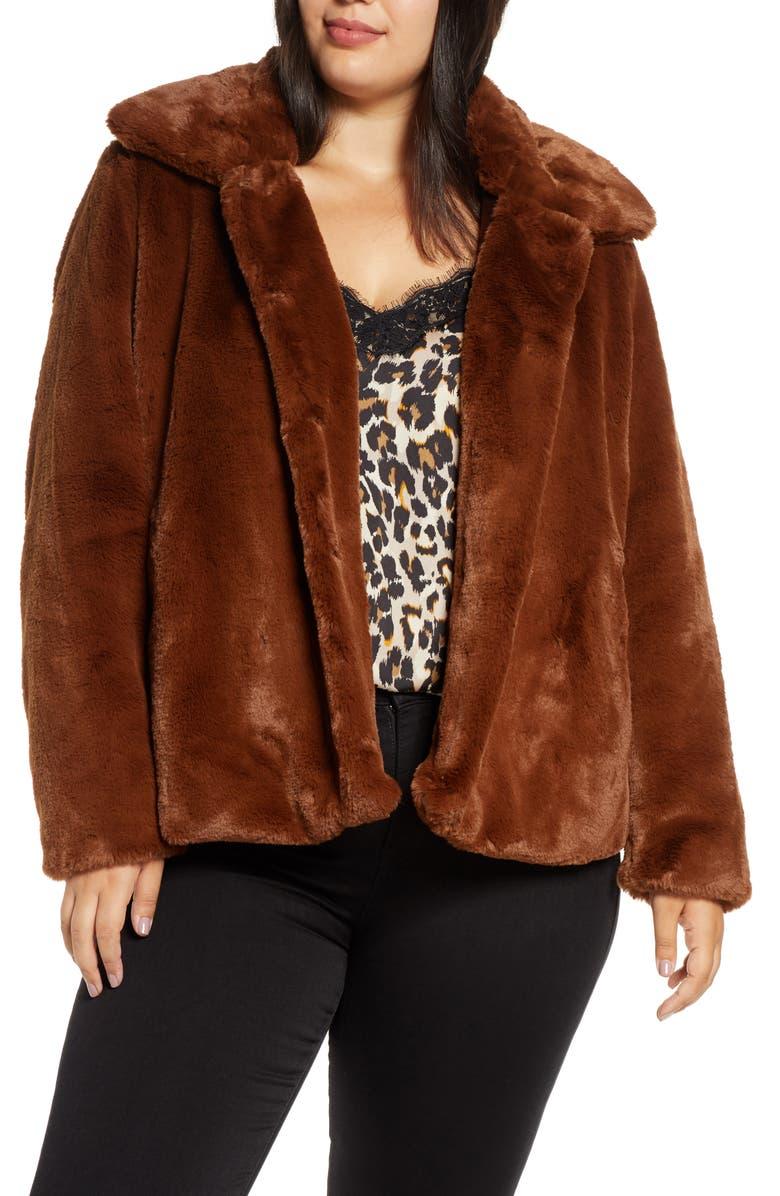 VIA SPIGA Short Faux Fur Jacket, Main, color, 213