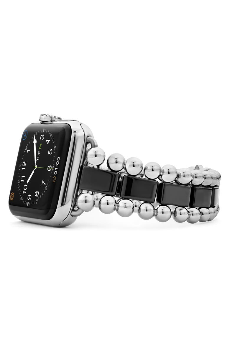 LAGOS Smart Caviar Black Ceramic & Stainless Steel Watchband for Apple Watch<sup>®</sup>, Main, color, SILVER/ BLACK CERAMIC