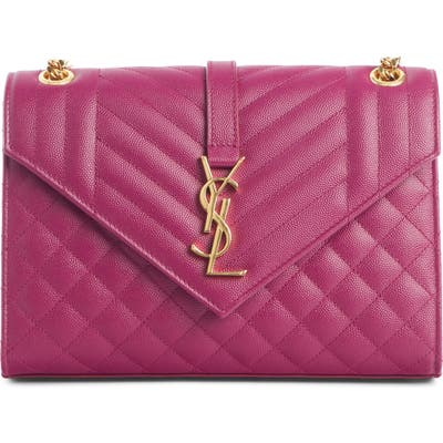 Saint Laurent Medium Cassandra Calfskin Shoulder Bag - Purple