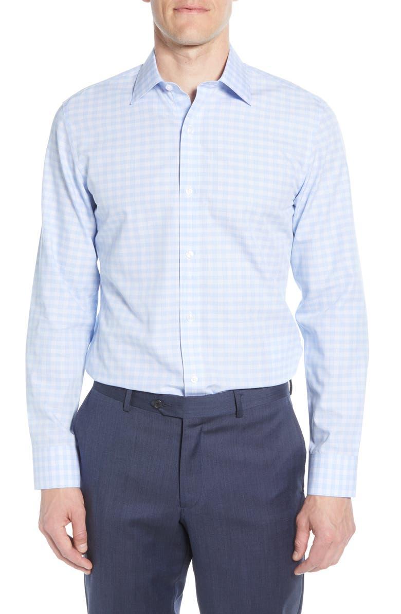BONOBOS Slim Fit Plaid Dress Shirt, Main, color, CORNFLOWER BLUE