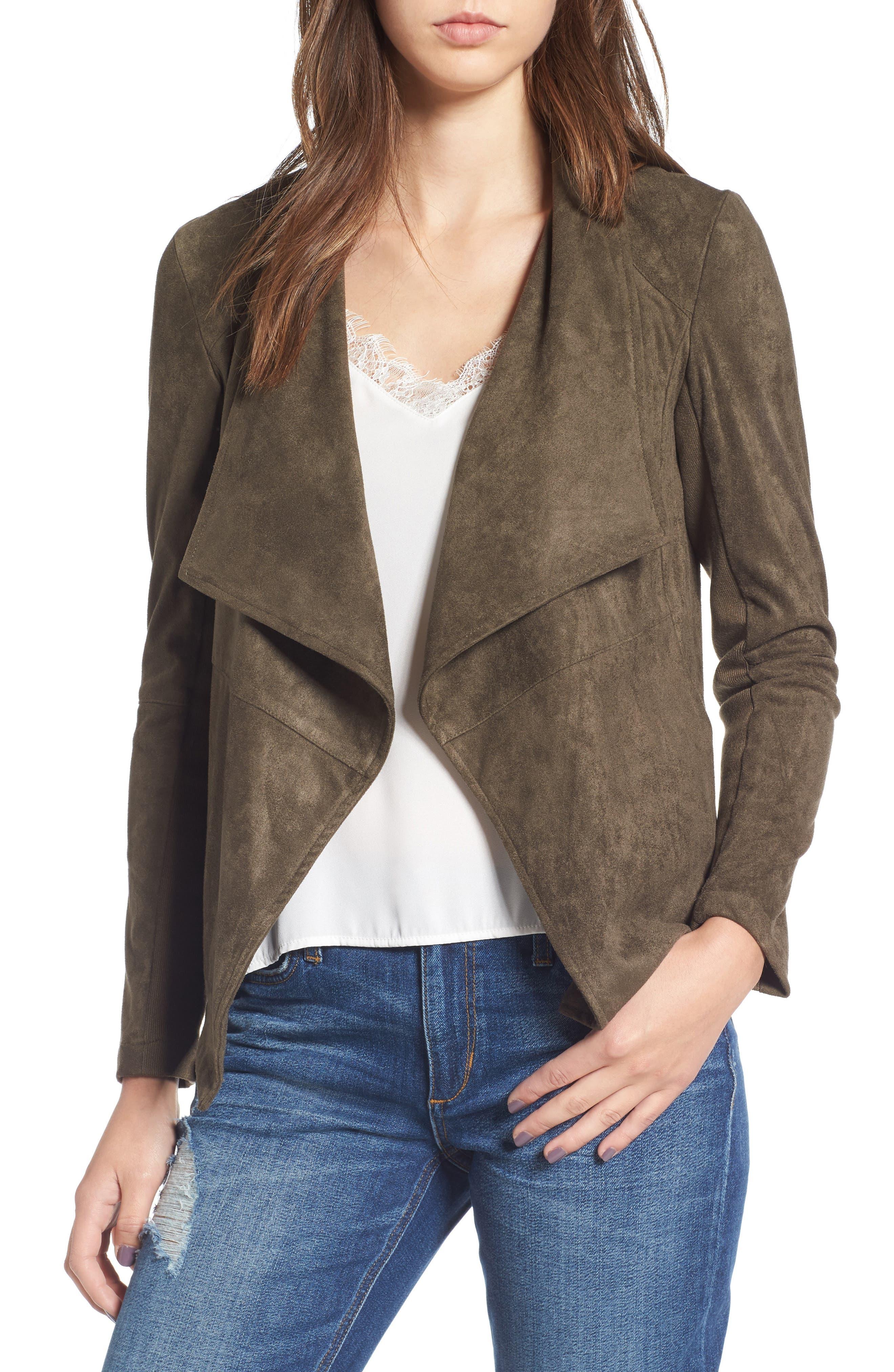 ,                             Nicholson Faux Suede Drape Front Jacket,                             Main thumbnail 82, color,                             341