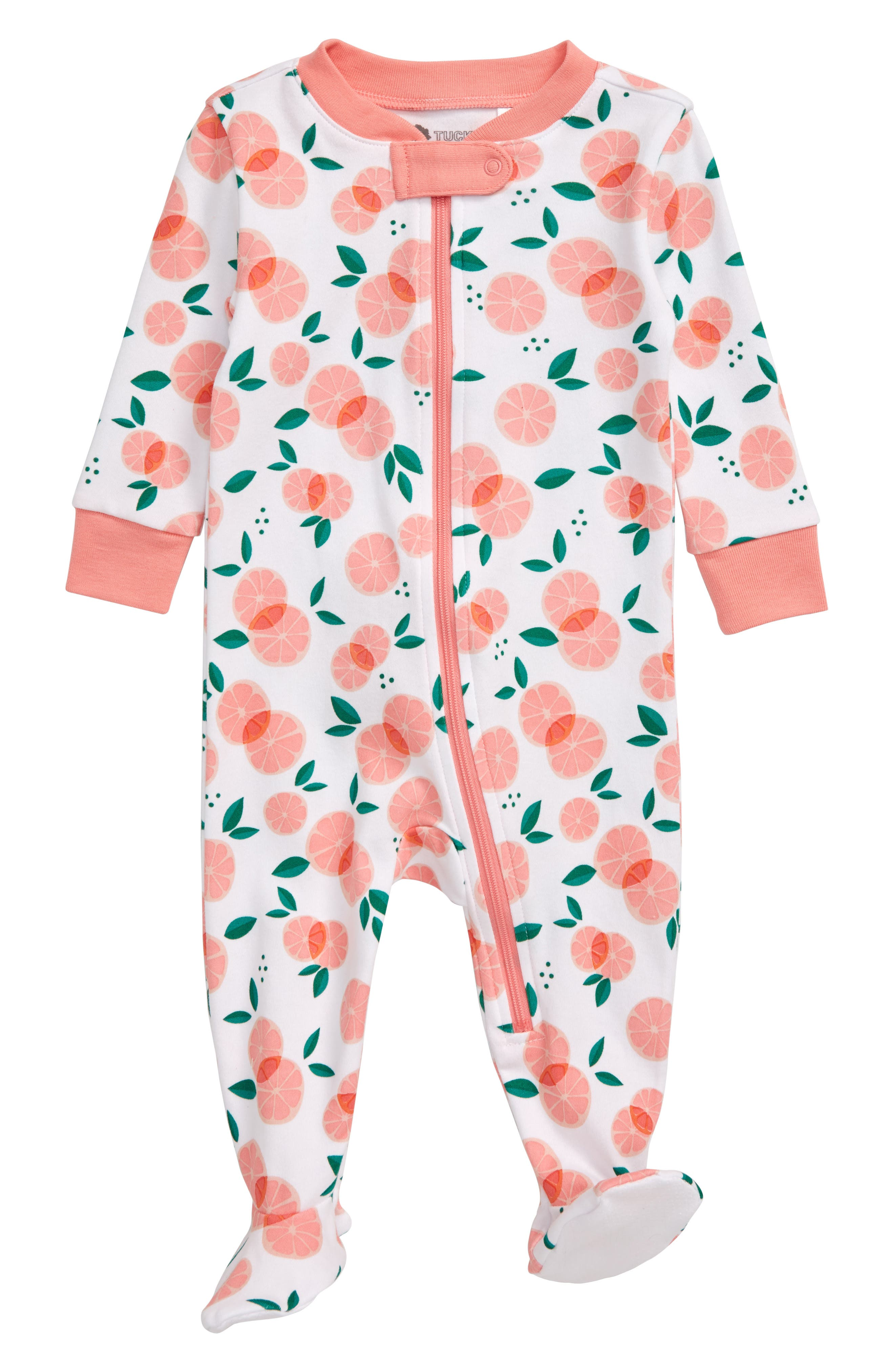 Keep your little one comfy and sleeping soundly in a snug-fitting footie that zips down the front for easy changing. Style Name: Tucker + Tate Print Fitted One-Piece Pajamas (Baby). Style Number: 5932308. Available in stores.