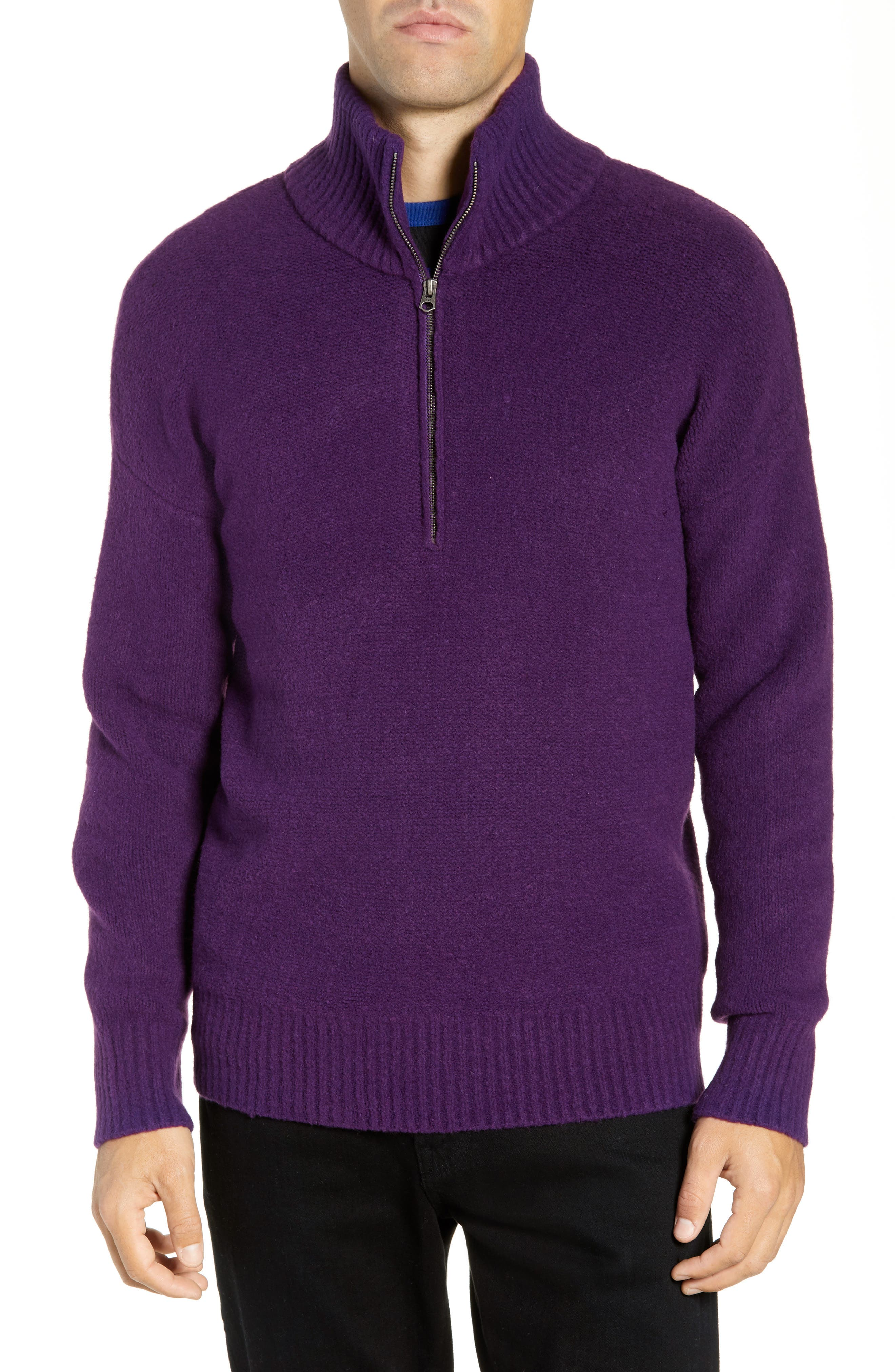 French Connection Regular Fit Mock Neck Sweater, Purple