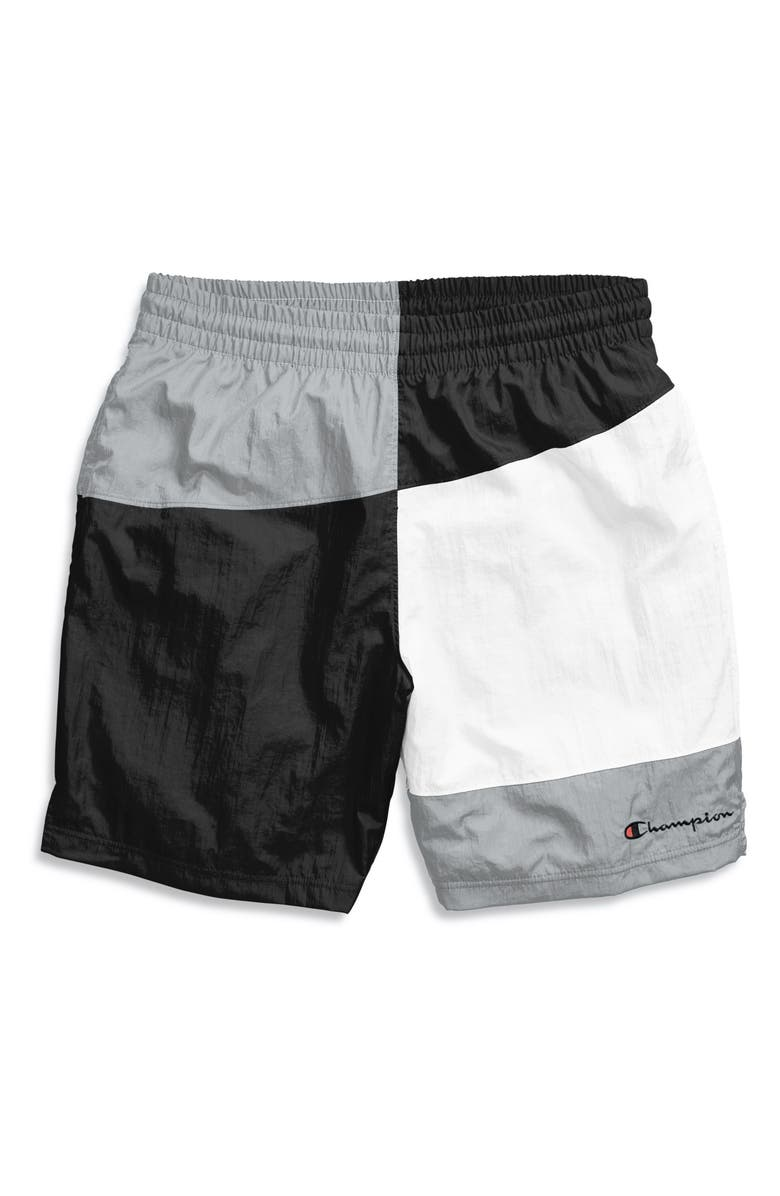CHAMPION Colorblock Crinkle Nylon Shorts, Main, color, 002