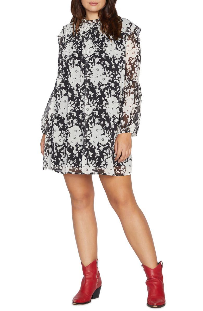 SANCTUARY Floral Audrey Long Sleeve Chiffon Swing Dress, Main, color, SHADOW BLOOM