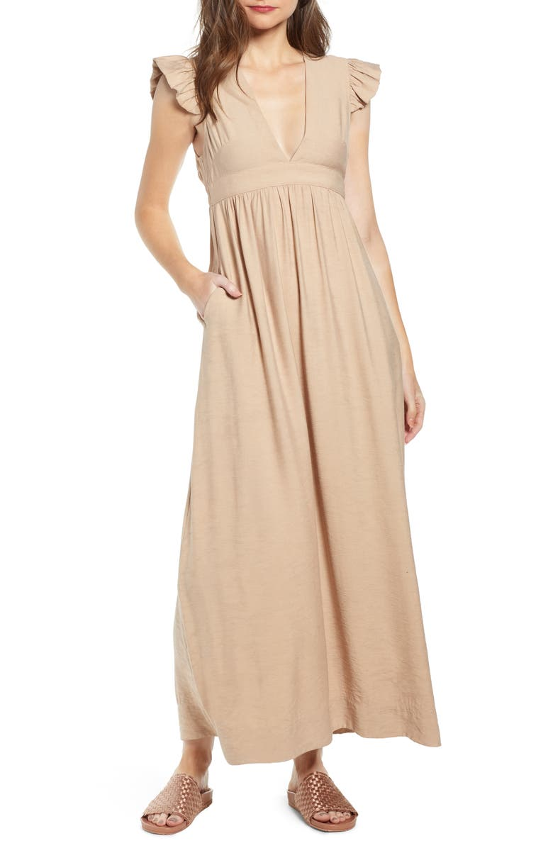 THE ODELLS Flutter Sleeve Maxi Dress, Main, color, SABBIA