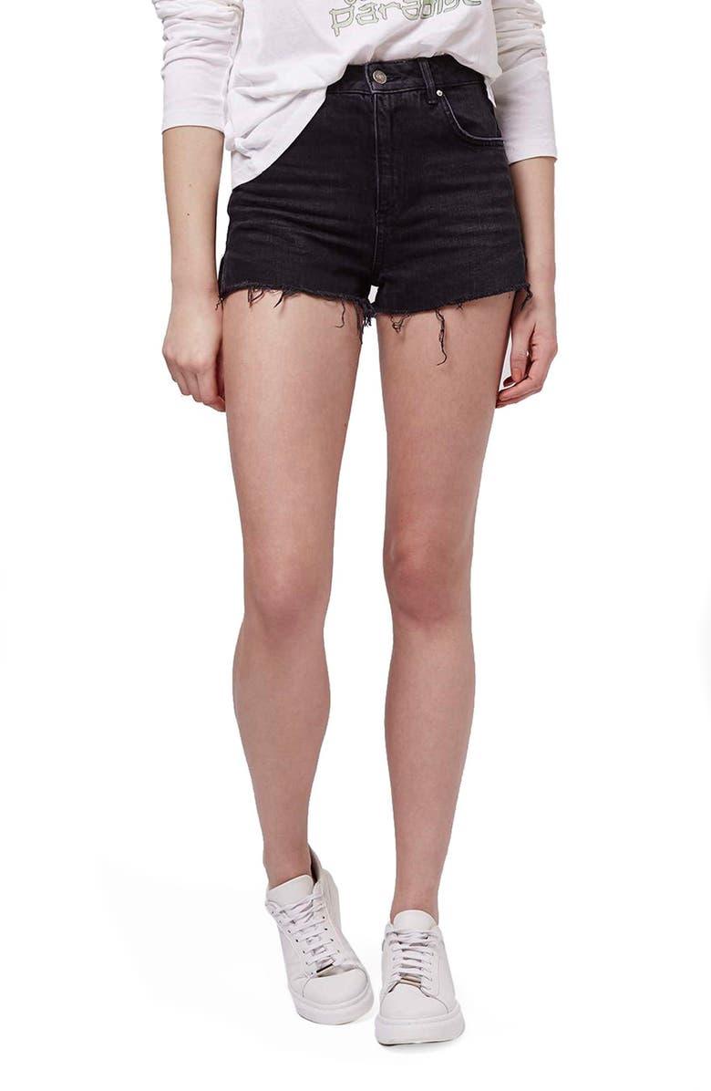 TOPSHOP Raw Edge Denim Shorts, Main, color, 001