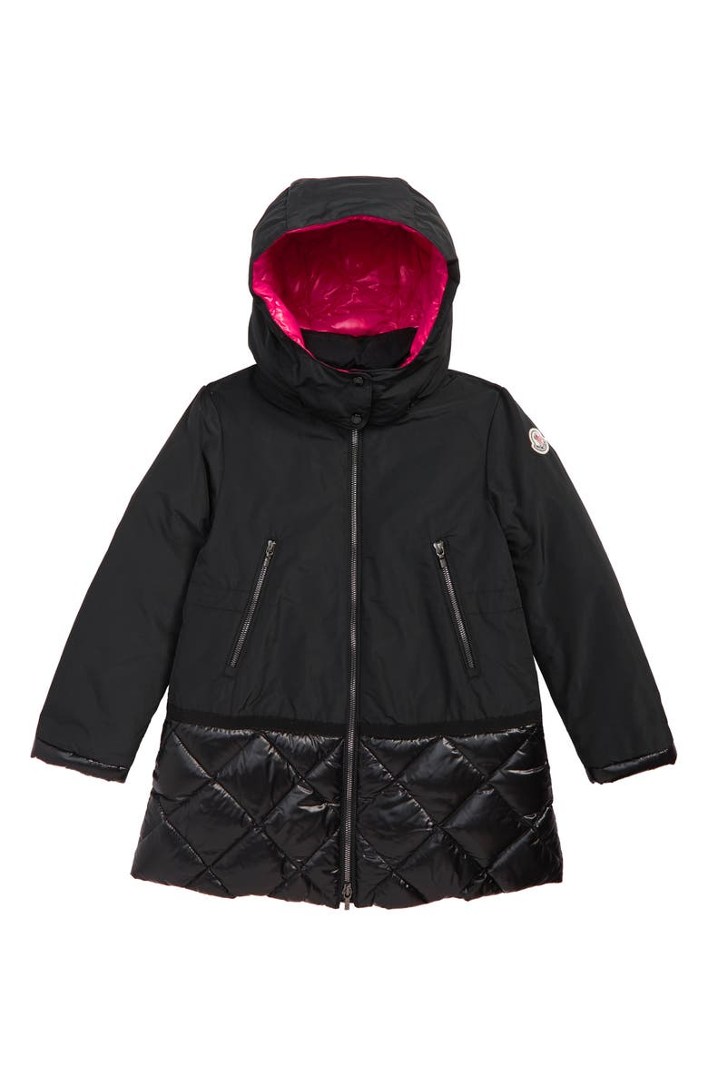 MONCLER Sibylle Down Trim Hooded Coat, Main, color, 001