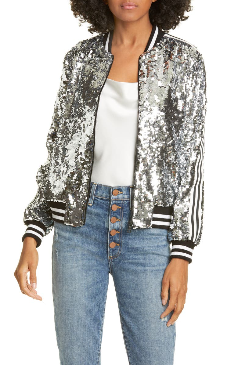 Lonnie Sequin Cropped Bomber Jacket by Alice + Olivia
