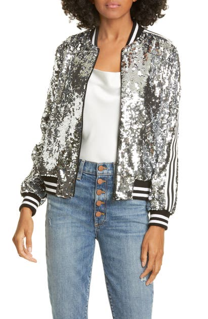 dca8c9874 Lonnie Sequin Cropped Bomber Jacket in Silver
