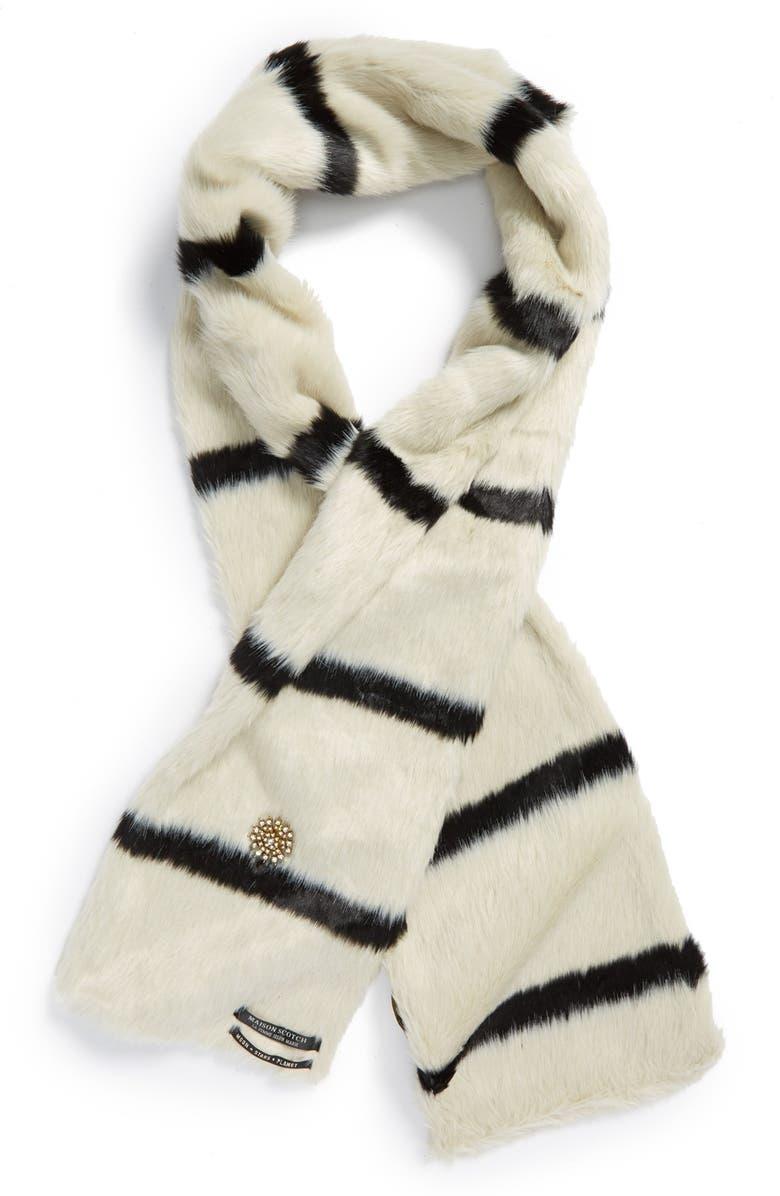 MAISON SCOTCH Stripe Faux Fur Scarf, Main, color, 001