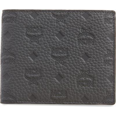 Mcm Tivitat Monogram Embossed Leather Bifold Wallet - Grey