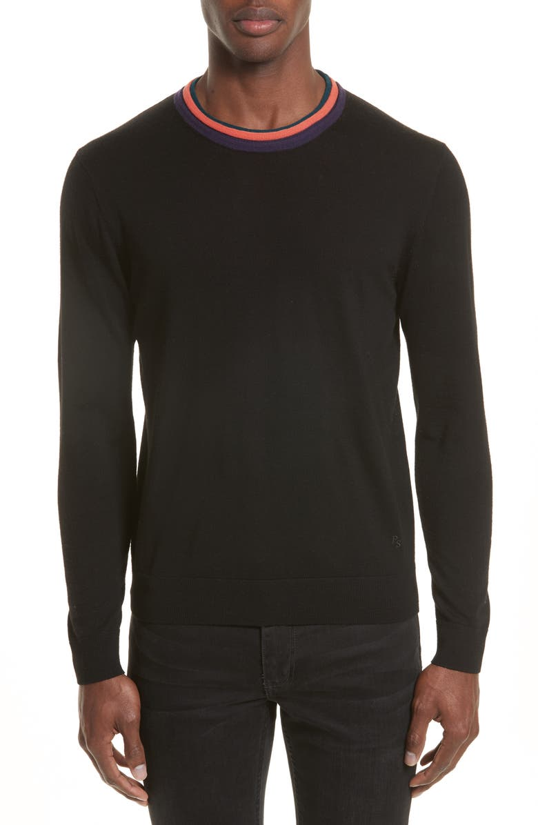 PS PAUL SMITH Merino Wool Pullover, Main, color, 001